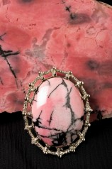 Rhodonite rough and cut